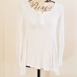 Super Soft White Boho Henley Top Sz XS